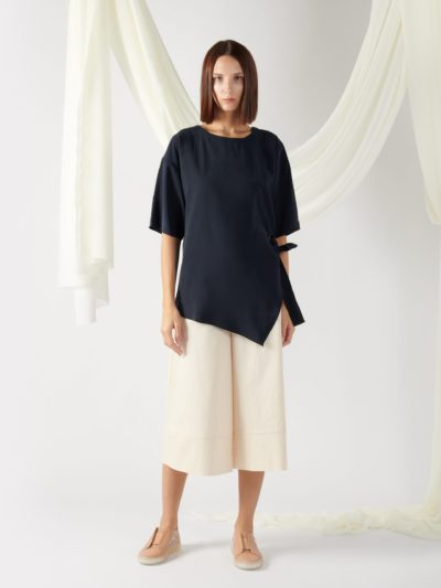 asymmetrical oversized top in midnight blue