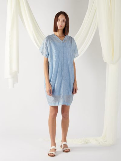 v-neck textured dress in light blue